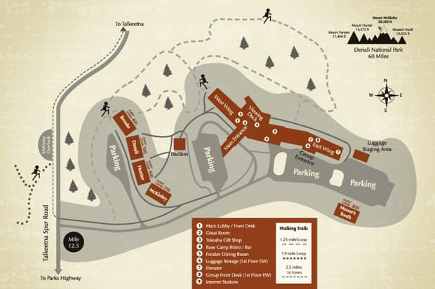 The layout of the Talkeetna Lodge, on the south side of Denali in Alaska