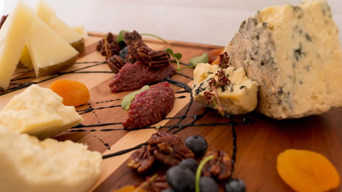 Arctic Watch Lodge cheese platter with meat, cheese and dried fruit.