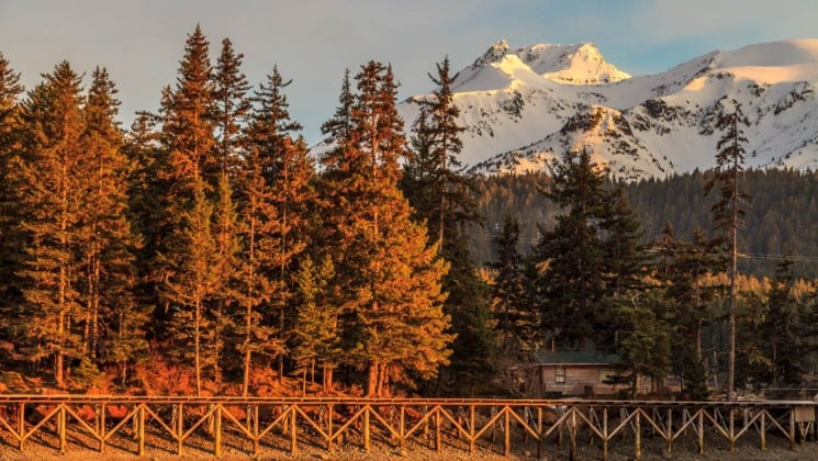 Take in views of the Alaskan wilderness, with snow-capped mountains and tall pine trees, at sunset, from Tutka Bay Wilderness Lodge, near Homer.