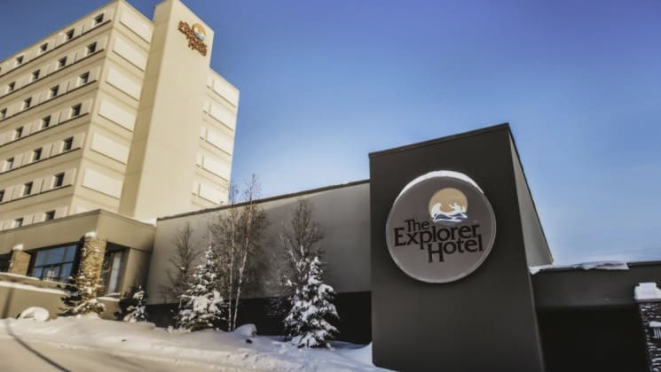 Exterior of Explorer Hotel in Yellowknife, Northwest Territories, with snow on ground