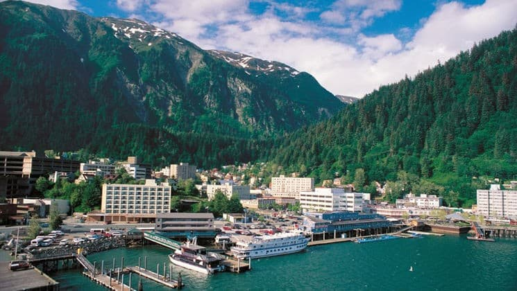 Waterfront of Juneau, Alaska, with Four Points by Sheraton visible among other downtown buildings