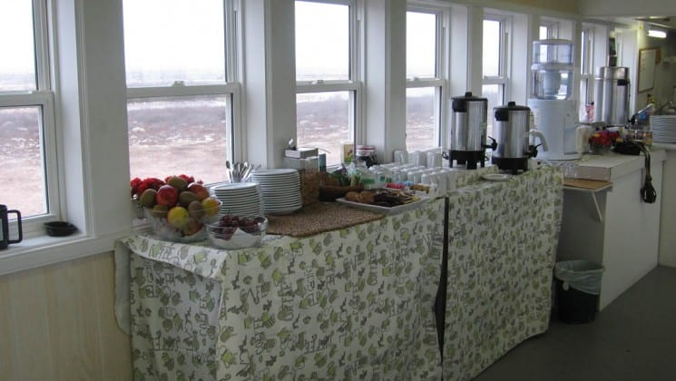 Tables are set for coffee and tea at the Tundra Lodge, a unique, rolling hotel, located in the subarctic outside the small Canadian frontier town of Churchill, Manitoba