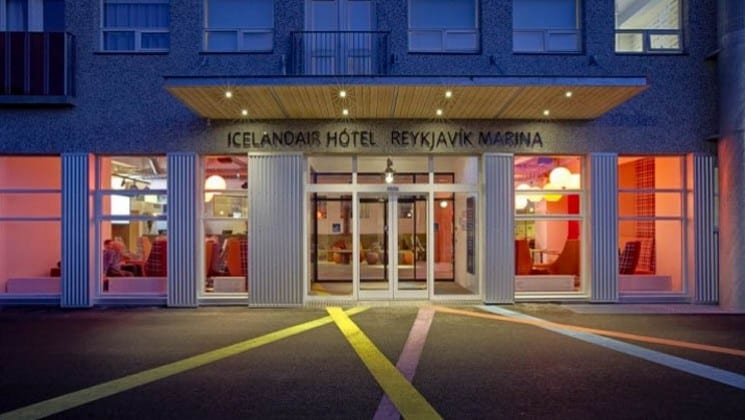The entrance to the Icelandair Reykjavik Marina Hotel, a contemporary accommodation set in the art district with views of the harbor.