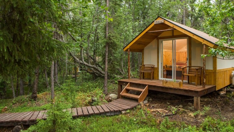 The exterior of a private cabin at the Kenai Backcountry Lodge, an off-the-grid hotel in Alaska's wilderness that is surrounded by dense forest