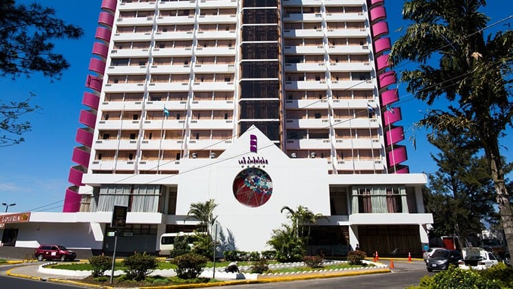 The exterior of the Las Americas Hotel in Guatemala City's business district.