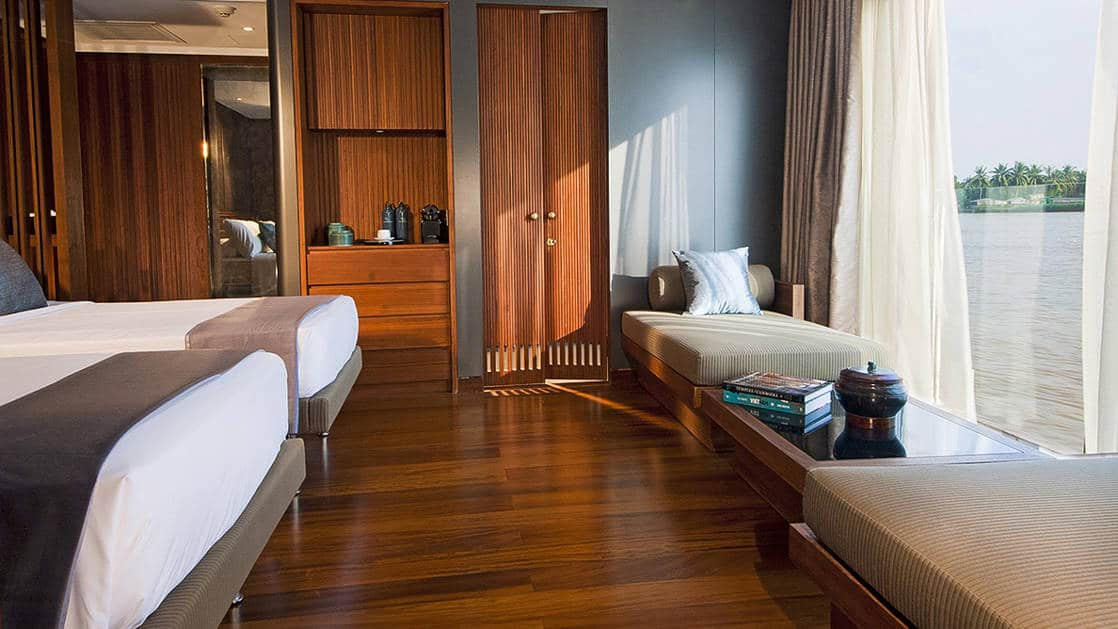 Aqua Mekong Design Suite without Balcony and Twin beds Set Up