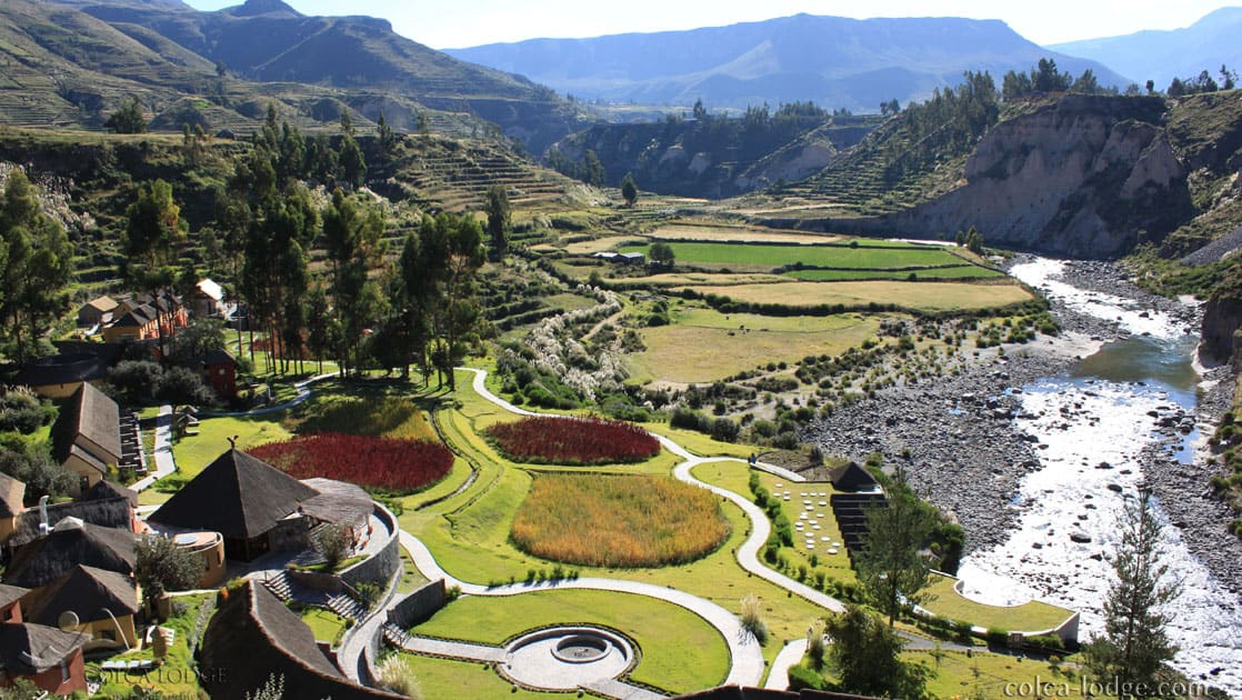 Exterior of the Colca Lodge on the banks of the Colca River, with pre-Inca agricultural terraces that have been declared a Peruvian cultural heritage area