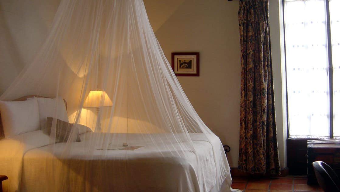 A room with a mosquito net draped over a queen-sized bed at Todos Santos Inn, an old hacienda hotel in Baja
