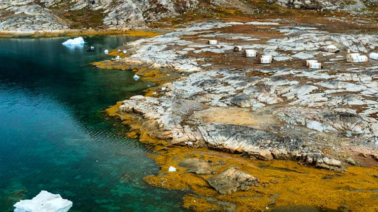 An aerial view of Base Camp Greenland, a remote refuge in the Arctic