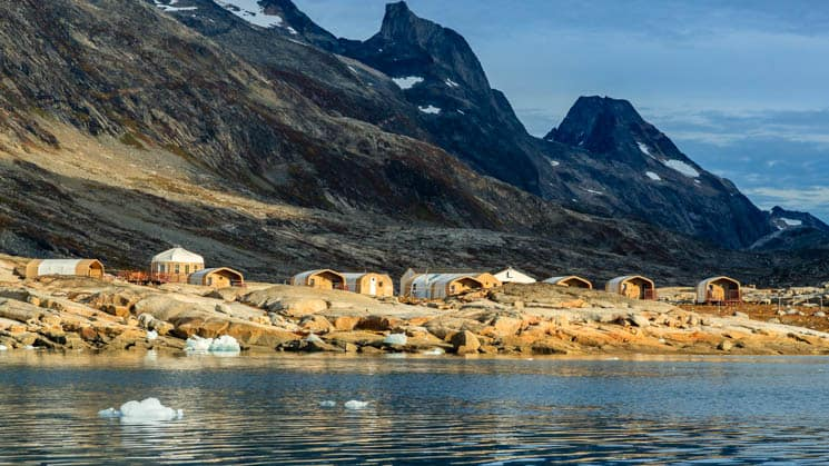 Base Camp Greenland, a remote and comfortable refuge in the Arctic, situated on the shores of the Sermilik Fjord