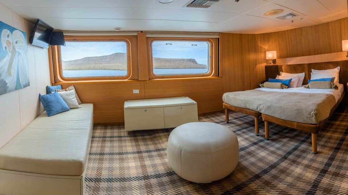 galapagos legend junior suite plus cabin with couch, two windows, plaid carpet and double bed