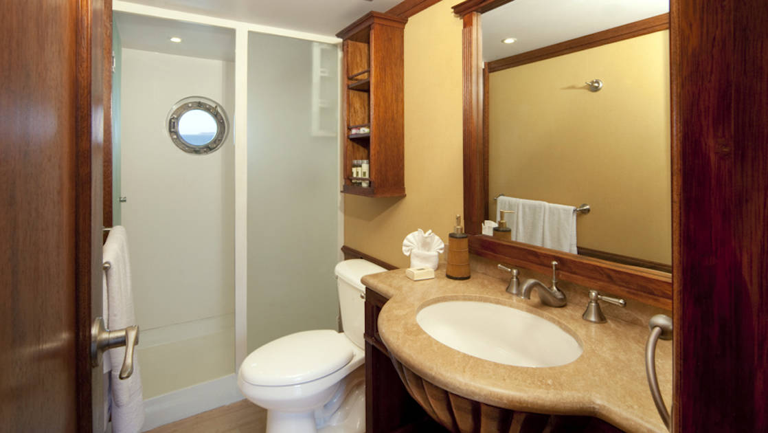 Grace stateroom bathroom with shower, toilet and vanity.