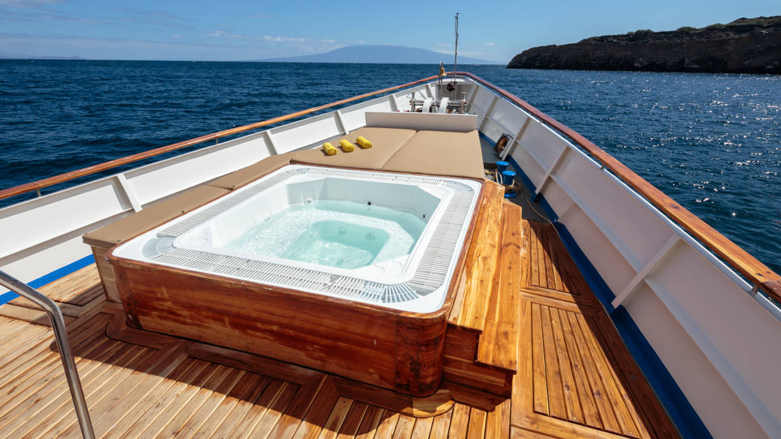 Grace outdoor hot tub at the bow of the ship.