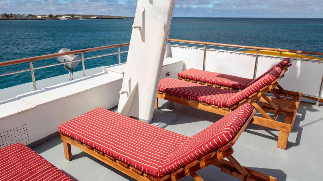 Lounge chairs on the deck of the Grace.