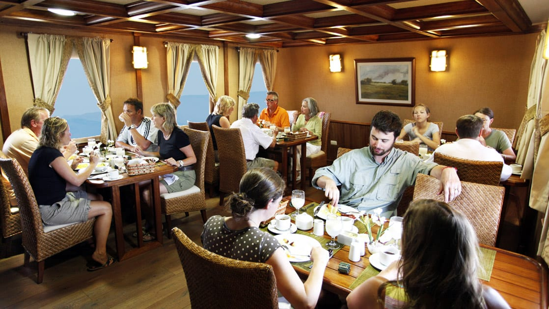 Grace dining room with passengers having a meal.