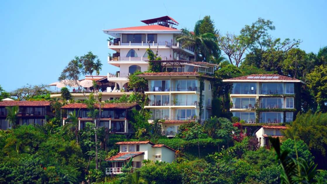 La Mariposa hotel is one of Costa Rica's oldest accommodations near Manuel Antonio National Park and sits on a hillside with stunning ocean views amid tropical gardens