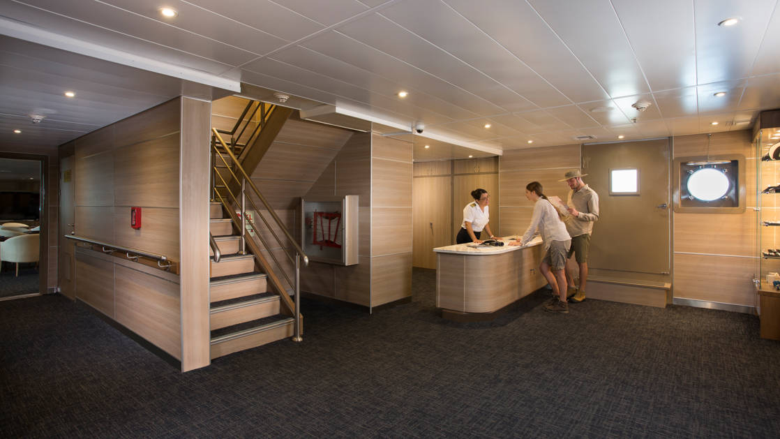 Reception and stairwell up to the upper decks on the Isabella II.