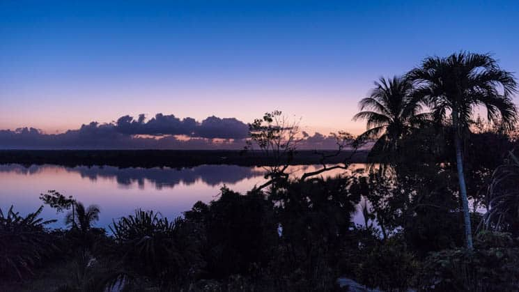 Backlit trees are silhouetted against a purple sunset over the New River Lagoon, at the Lamanai Outpost in Belize