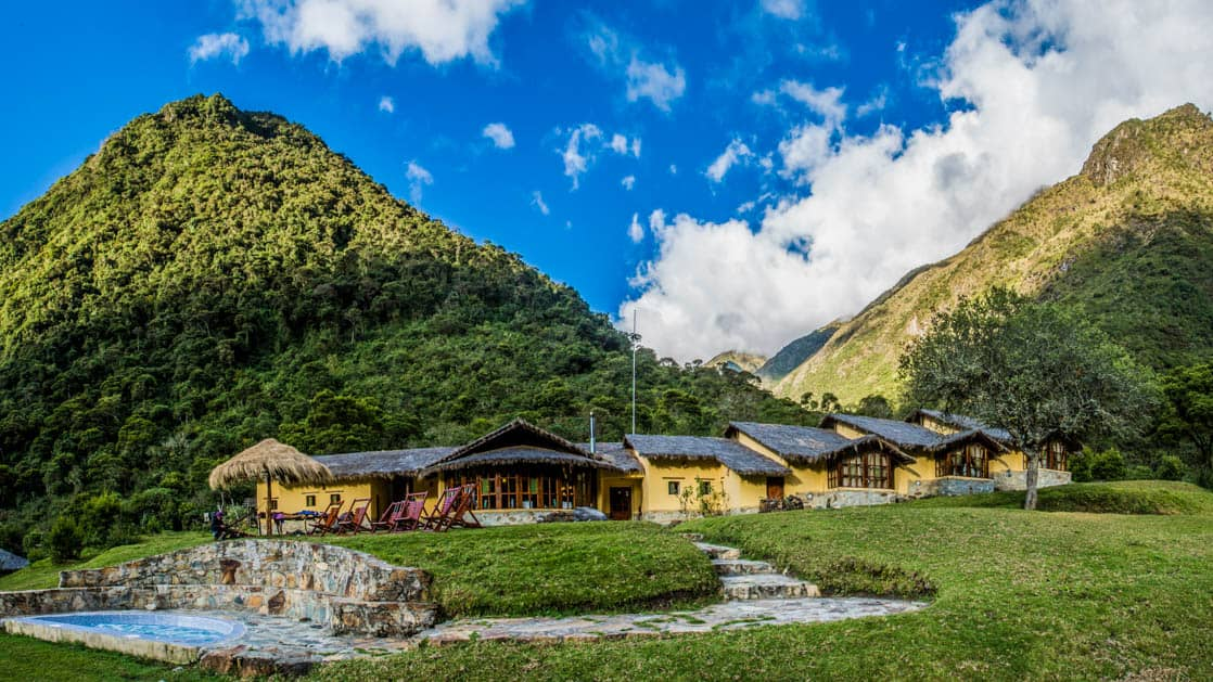 The Colpa Lodge is located near a cloud forest at 9,414 feet in the Colpapampa Valley, near hot springs and the confluence of three rivers. Part of the Mountain Lodges of Peru on the Inca Trail to Machu Picchu