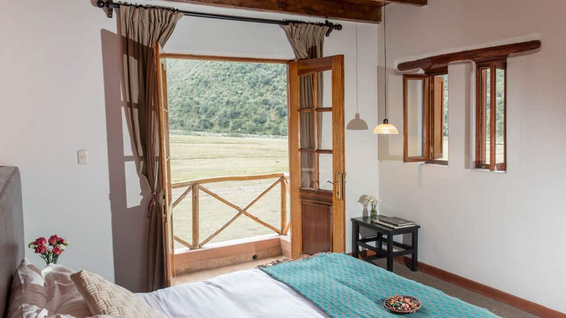 A room with a private balcony feels like a large, high-end Peruvian home at the Salkantay Lodge and Adventure Resort, one of four hotels at the Mountain Lodges of Peru on the Inca Trail to Machu Picchu.