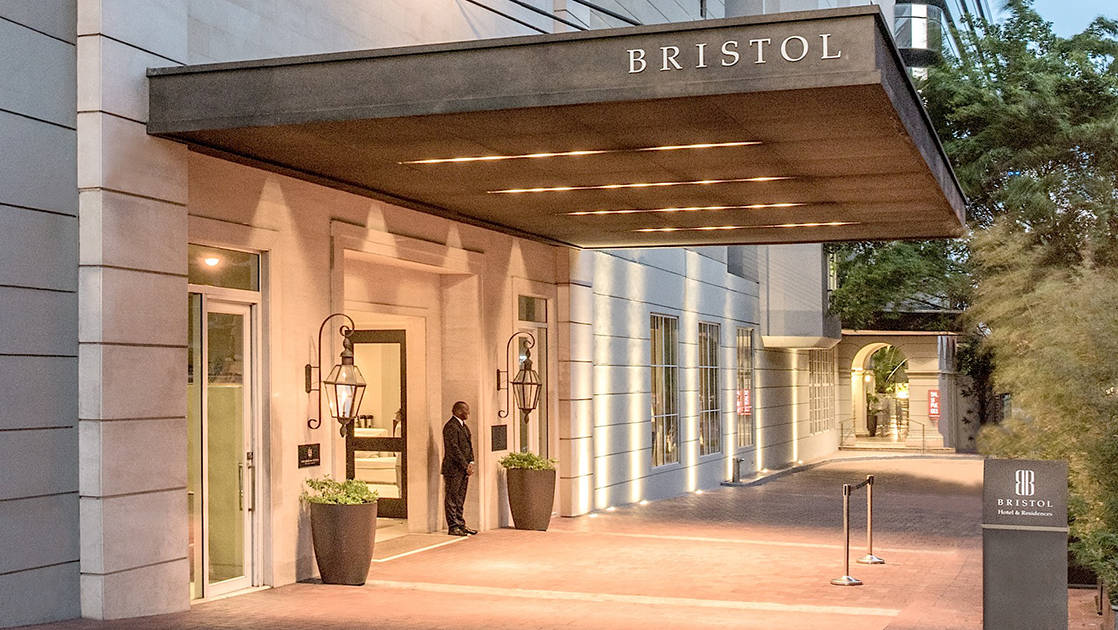 The entrance to the Bristol Panama Hotel, one of the country's top-rated, located in the city's financial district, close to shopping, cultural attractions, and entertaining nightlife
