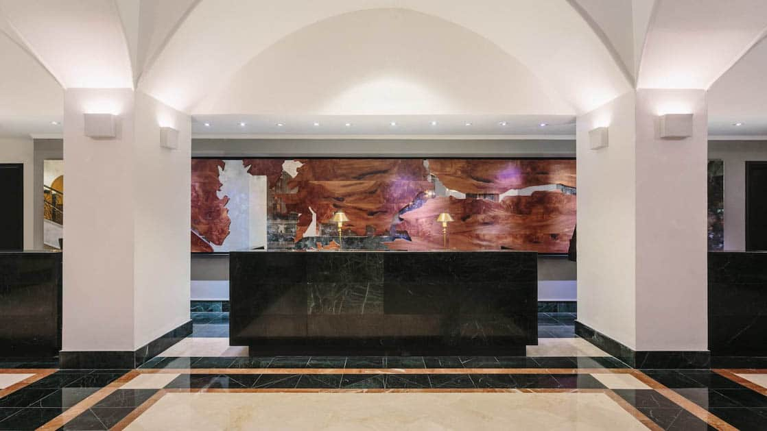 The front desk in the lobby of the Marriott Hotel in Panama City.