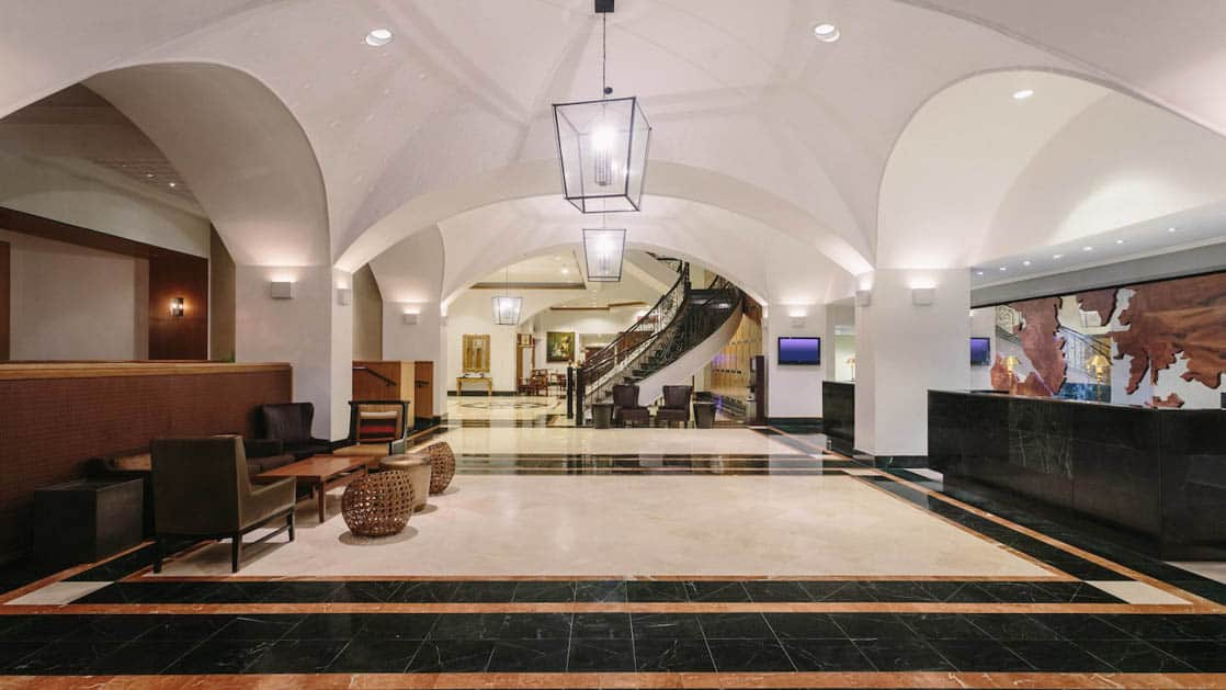 The lobby with arched ceilings and marble floors at the Marriott Hotel in Panama City.