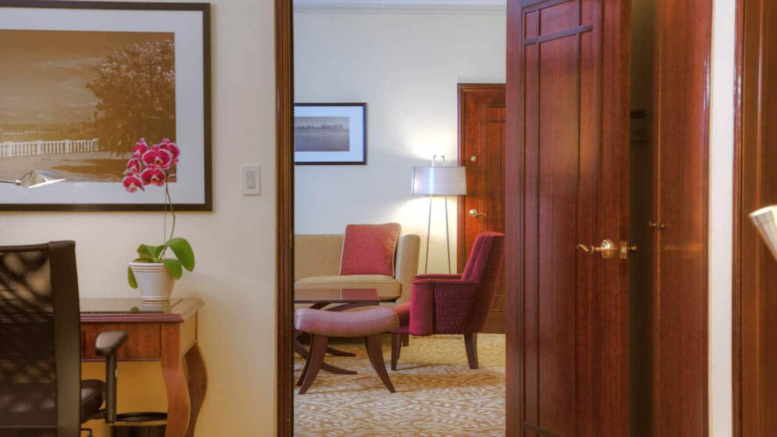 A glimpse of the master suite, looking through the door between the bedroom and living room, at the Marriott Hotel in Panama City.