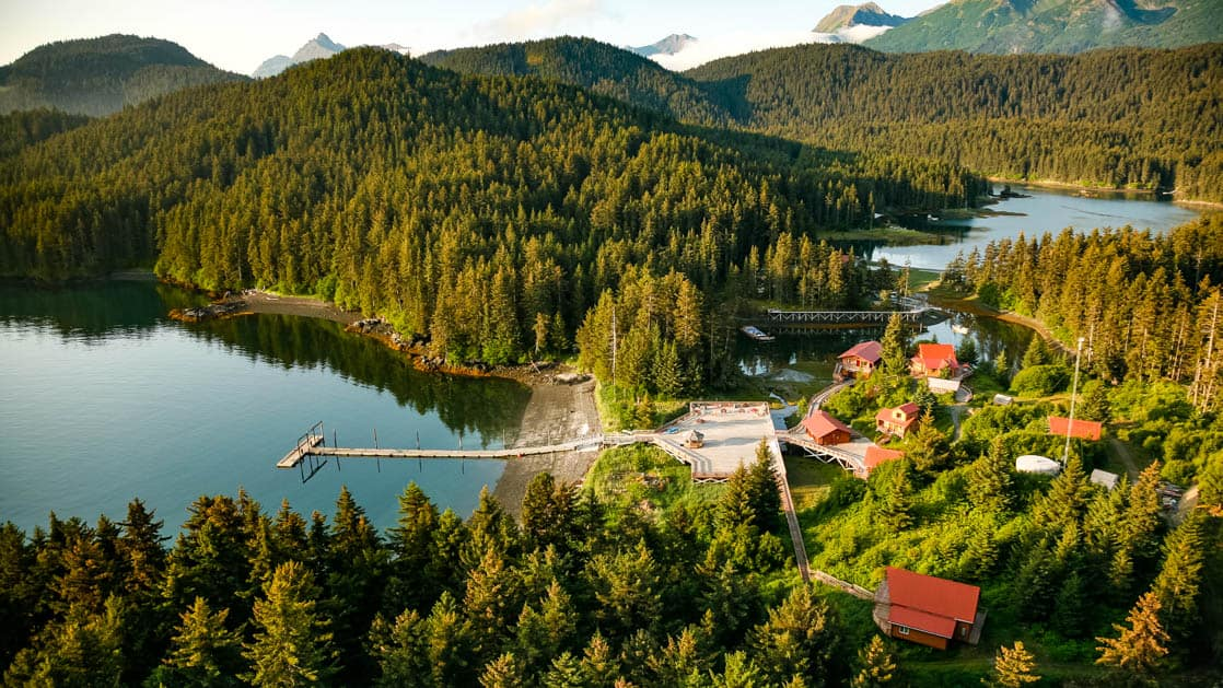 An aerial view of Tutka Bay Lodge, an Alaskan wilderness resort, which sits at the entrance to a rugged seven-mile fjord at the southern end of Kachemak Bay near Homer, Alaska.