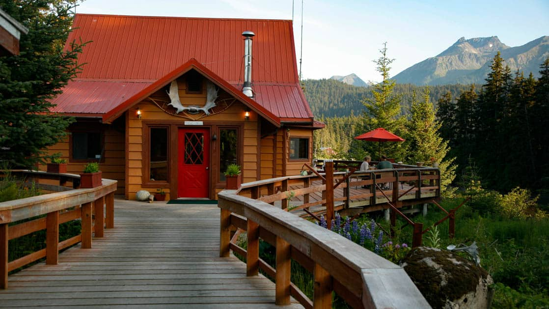 Tutka Bay Lodge, an Alaskan wilderness lodge, sits at the entrance to a rugged seven-mile fjord at the southern end of Kachemak Bay near Homer, Alaska.