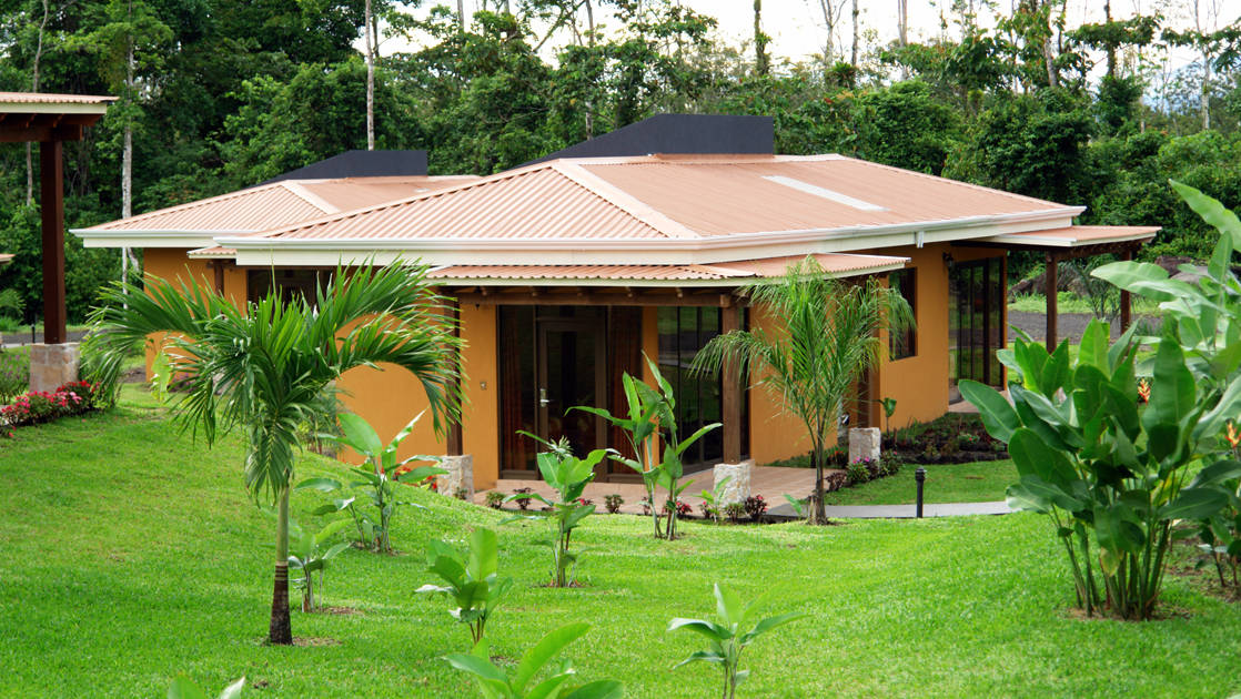 Landscaped gardens surround the Arenal Manoa Lodge's main building in Costa Rica