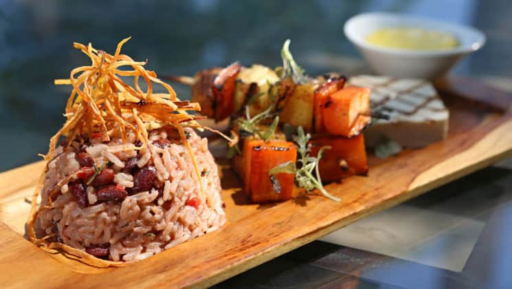 Rice and sushi fare served at Arenas Del Mar, a luxury resort in Costa Rica