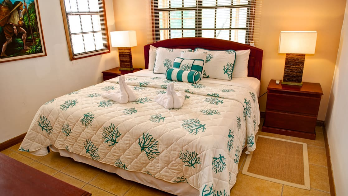 A room with large windows, a bedside table, and a queen bed at the beachfront Blackbird Caye Resort, in Belize.