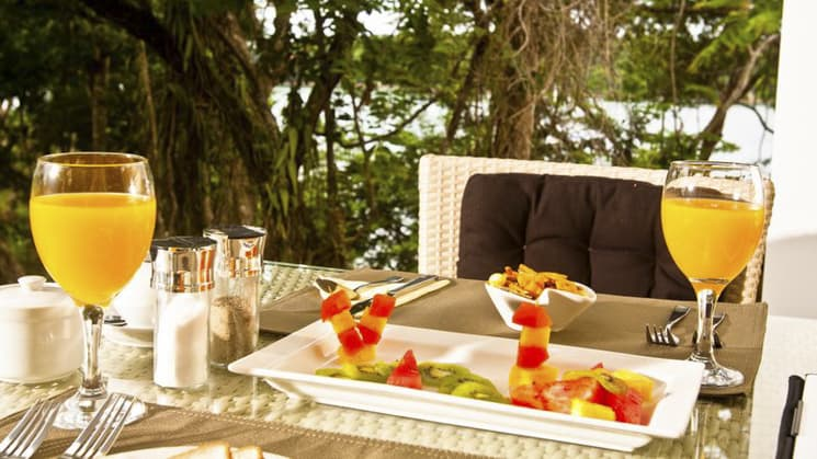 A tropical, complimentary breakfast with fresh fruit and juice is served every morning at the Bocas del Mar, located on Panama's coast