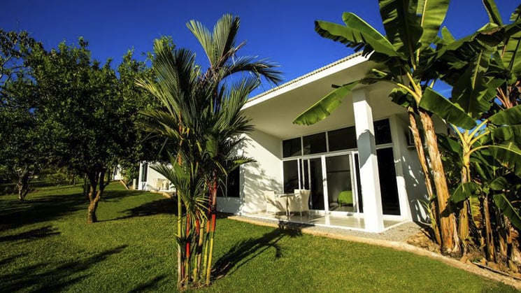 The exterior of the Bocas del Mar hotel with a green lawn, palm trees, and blue sky. A perfect day in Panama.