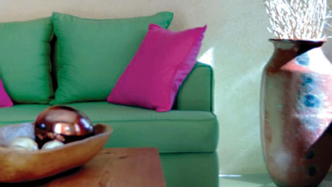 Green couch with purple pillows and coffee table near large potted plant in suite at Casa Natalia on the Baja Peninsula