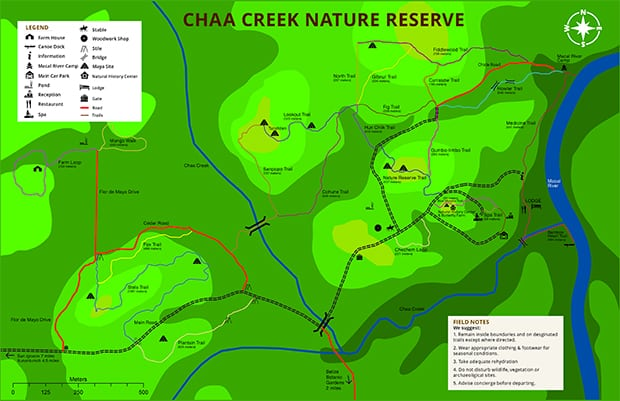 Property map showing layout of Chaa Creek Jungle Lodge in Belize