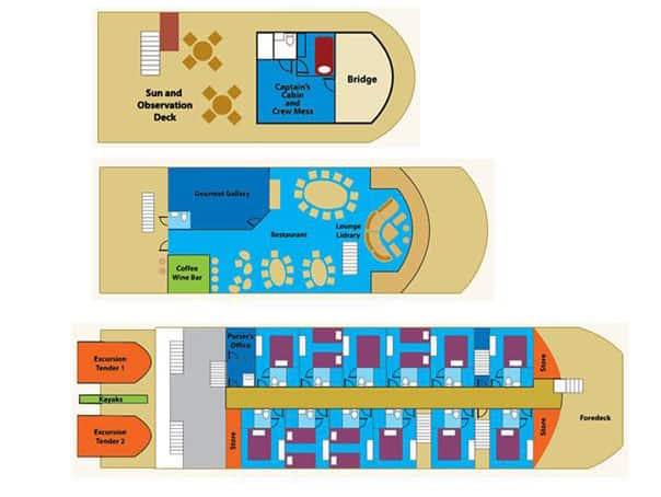 panama discovery catamaran deck plan with 3 levels