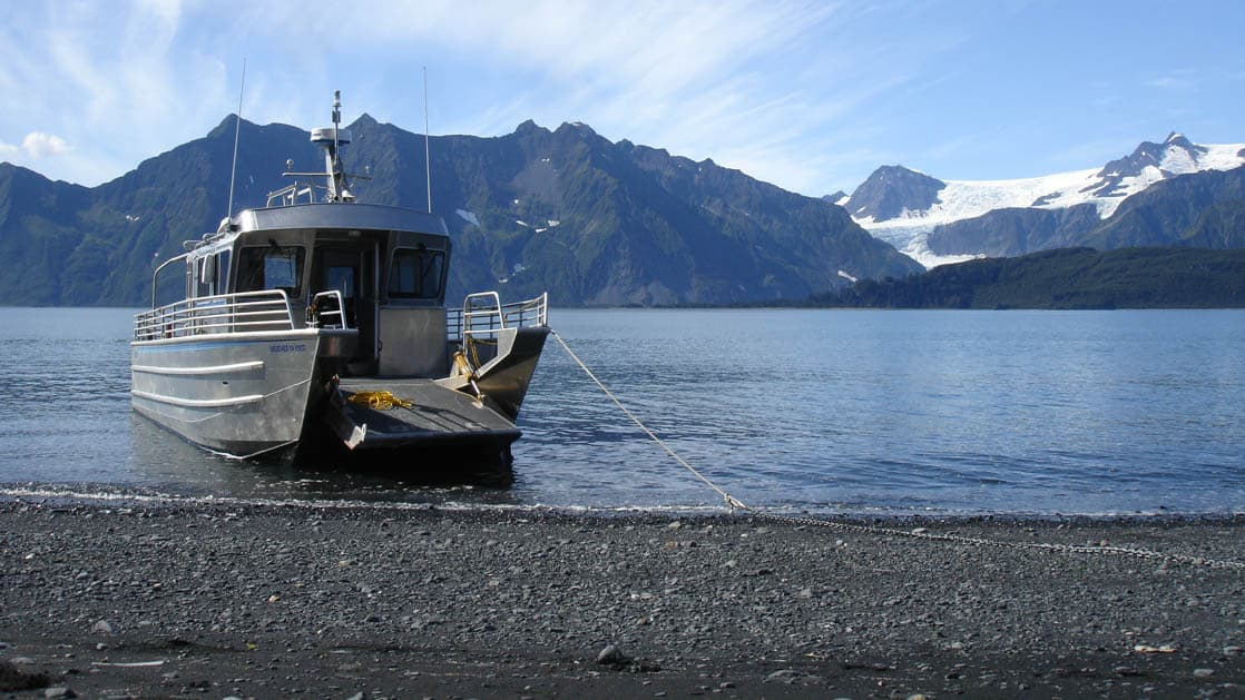 When guests arrive by boat at the Kenai Fjords Glacier Lodge in Alaska, there is no dock or infrastructure. Instead a landing craft drops patrons right on the beach