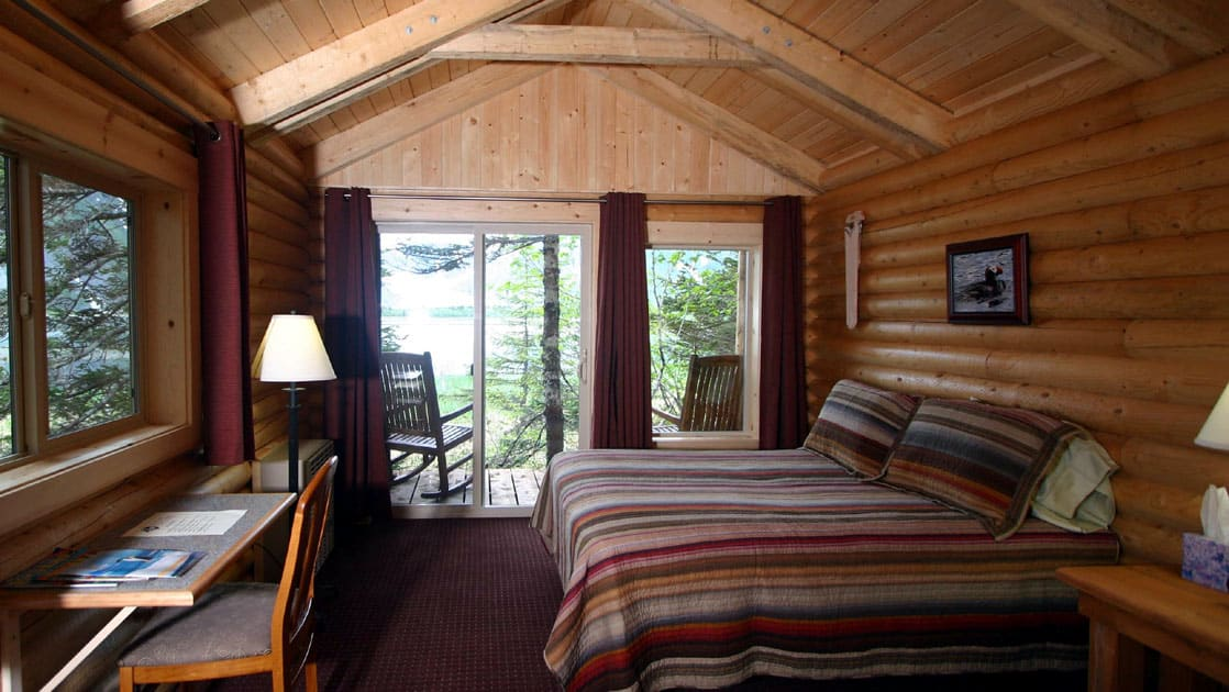Inside one of the private guest log cabins at the sustainable Kenai Fjords Glacier Lodge in Alaska, with a queen sized bed and a view of the forest