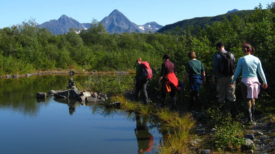 A group of hikers explore the explore the pristine wilderness of Alaska's Kenai Fjords National Park by foot while staying at the eco glacier lodge nearby.