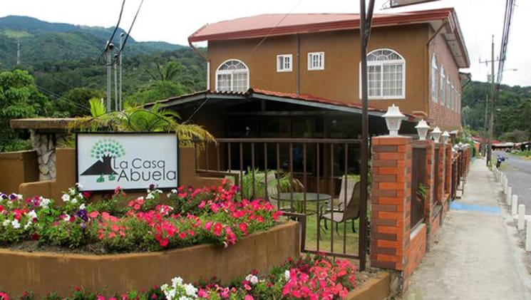 Fresh flowers grow on the grounds outside La Casa De La Abuela, a cozy hotel located in the caldera river valley in Panama