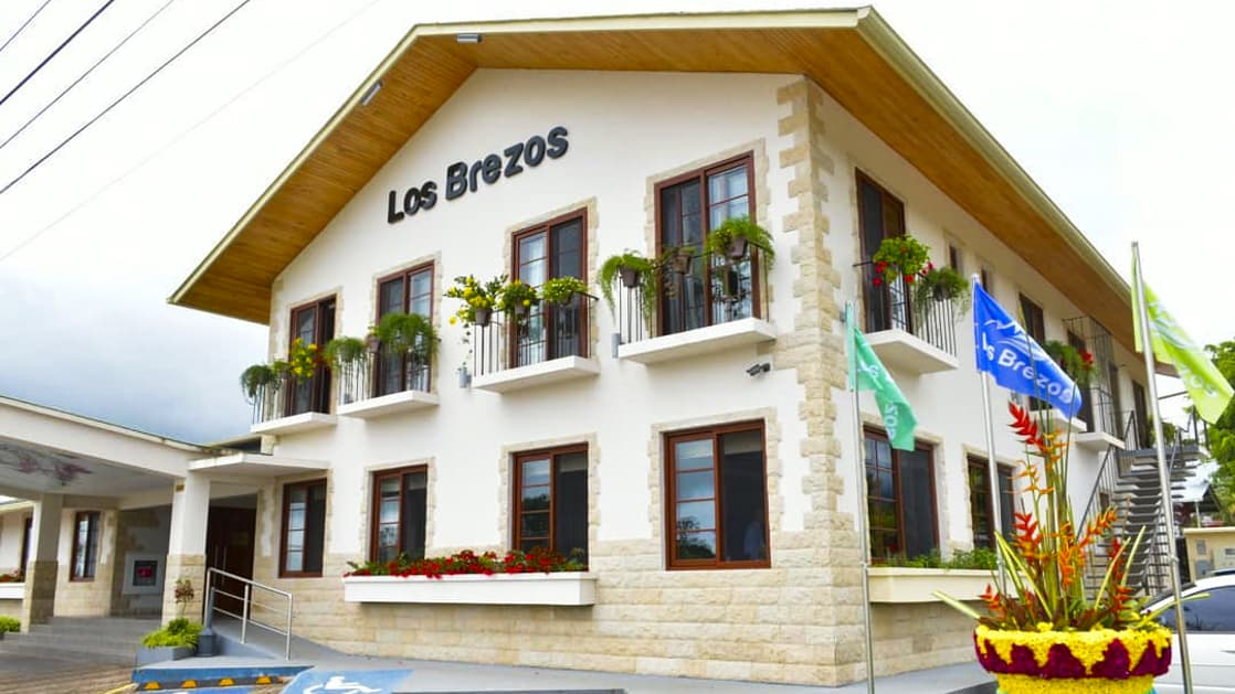 The exterior of the family-owned Los Brezos Hotel, near the Baru Volcano in Panama