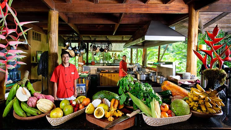 A spread of vegetables and fruit is set up for a meal at the Pacure Lodge, a boutique luxury hotel in Costa Rica