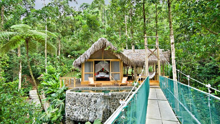 A suspension bridge 60 feet above the jungle floor leads to a suite called The Nest at the Pacuare Lodge, a sustainable hotel in Costa Rica