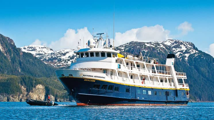National Geographic Sea Lion small ship anchored in Alaska.