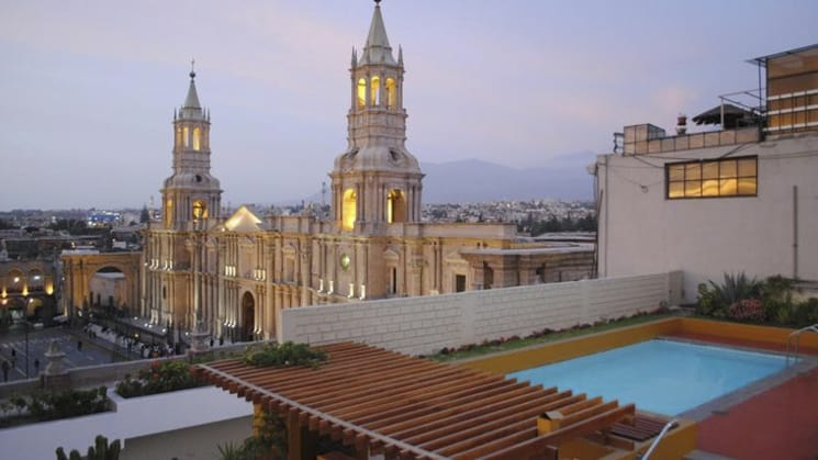 A view of Arequipa, with the pool in the foreground, from Sonesta Posada Del Inca, a boutique hotel