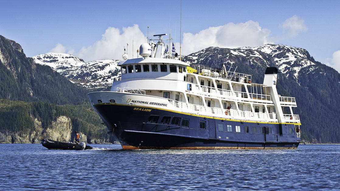 National Geographic Sea Lion small expedition ship cruising in in Alaska on the wild alaska escape juneau to ketchikan trip