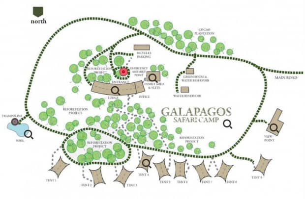 Map of grounds at Galapagos Safari Camp Santa Cruz Highlands in the Galapagos Islands