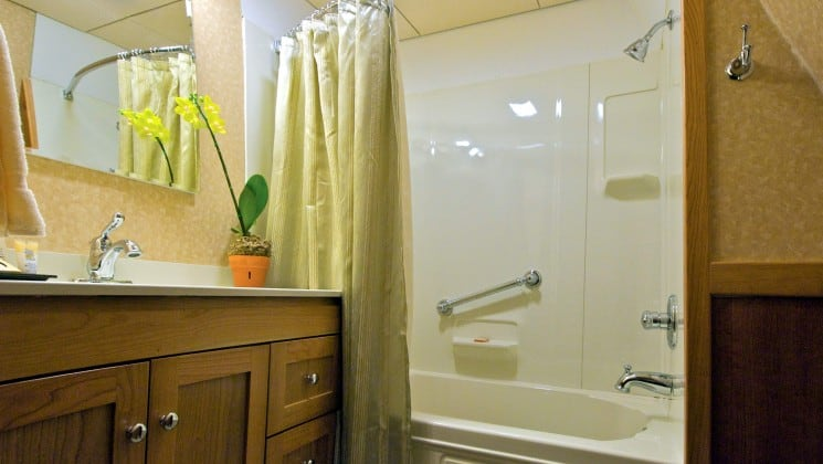 Safari Explorer Hawaii small ship admiral stateroom cabin bathroom with a shower, curtain and vanity